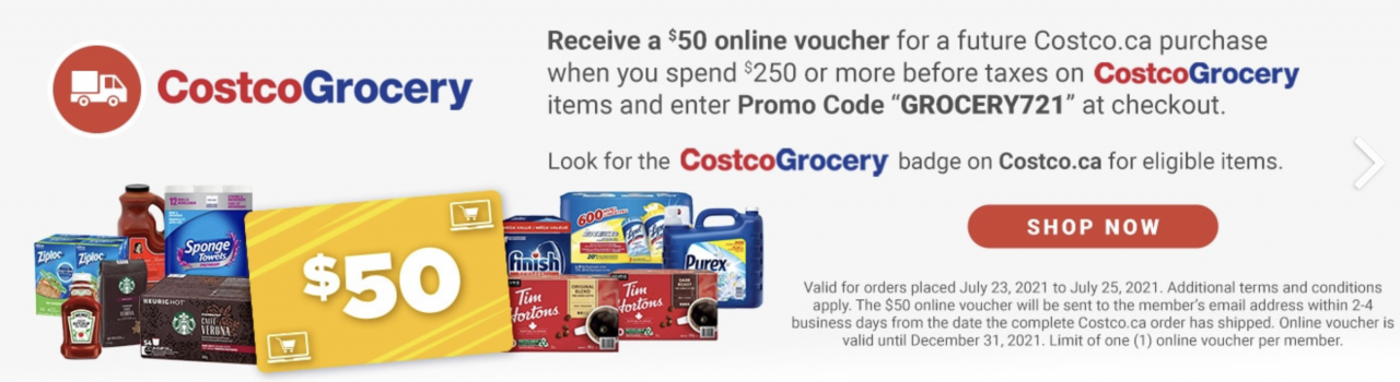 [Costco Canada] Receive a free $50 voucher when you spend $250 or more on Costco groceries